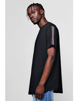 longline-t-shirt-with-aztec-tape by boohoo