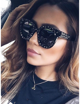Black Star Rhinestone Detail Square Frame Sunglasses by Choies