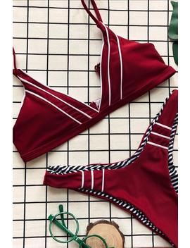 White Lines Patch / Stripes Print Two Sides Bikini Set by Lupsona