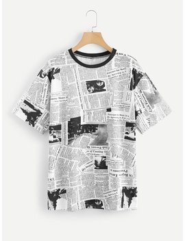 newspaper-print-tee by romwe