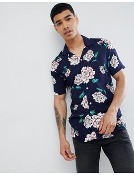solid-short-sleeve-revere-collar-shirt-in-floral-print by solid