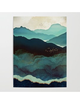 indigo-mountains-poster by spacefrogdesigns