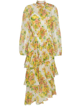 golden-tiered-ruffle-floral-print-midi-dress by zimmermann