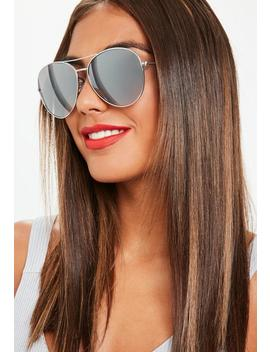silver-glam-aviator-sunglasses by missguided