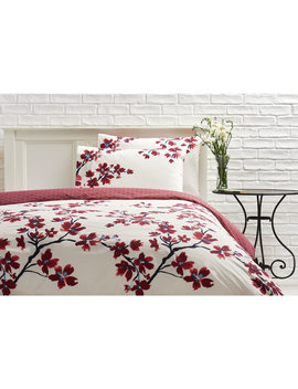 wilko-duvet-set-double-symmetry-blossom-----------cream-and-red by wilko