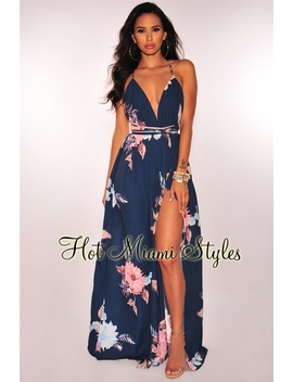 Navy Floral Halter Slit Maxi Dress by Hot Miami Style