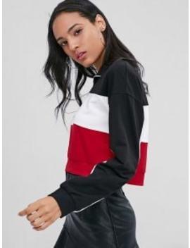 half-zip-contrast-sweatshirt---black-m by zaful