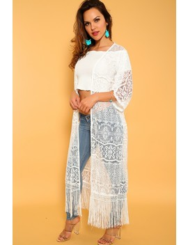 sexy-white-fringe-detail-open-front-cardigan by ami-clubwear