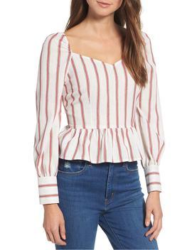 stripe-peplum-hem-blouse by moon-river