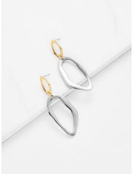 two-tone-metal-drop-earrings by shein
