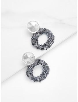 tweed-overlay-open-round-stud-earrings by shein
