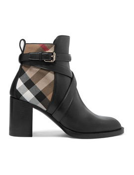 leather-and-checked-canvas-ankle-boots by burberry