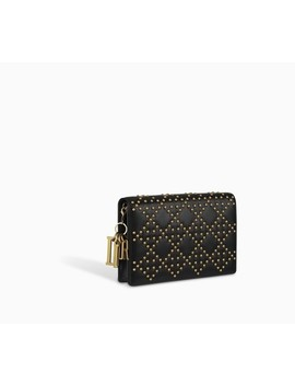 lady-dior-wallet-on-chain-pouch-in-studded-black-calfskin by dior