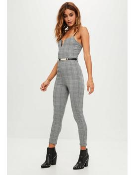 Grey Check Belted Jumpsuit by Missguided
