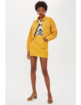 Mustard Corduroy Skirt by Topshop