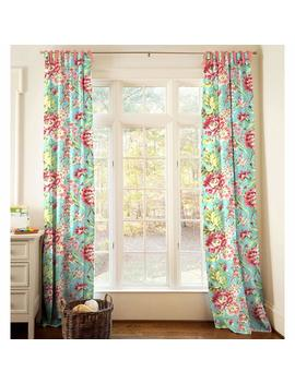 carousel-designs-coral-and-teal-floral-drape-panel-84-inch-length-standard-lining-42-inch-width by carousel-designs