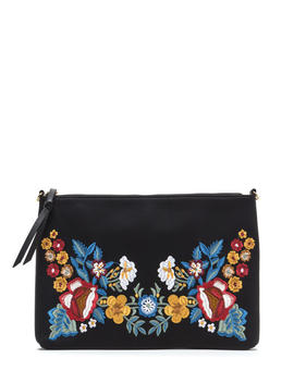 flower-up-embroidered-rectangle-clutch by gojane