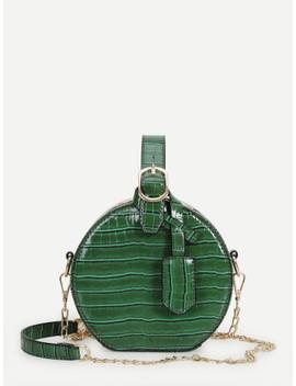 croc-pattern-round-chain-bag by sheinside