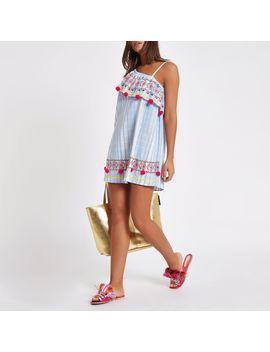 blue-stripe-one-shoulder-pom-pom-beach-dress by river-island
