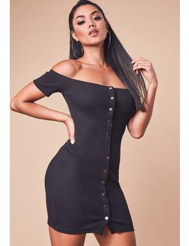 Black Bardot Popper Bodycon Dress by Missguided
