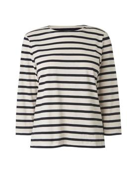 trin-navy-cream-cotton-jersey-top by lkbennett