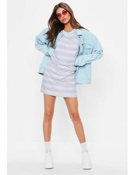 Pink Tough Titties Striped Oversized T Shirt Dress by Missguided