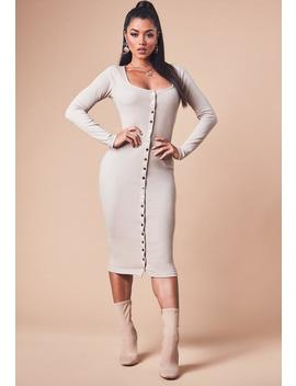 Sand Long Sleeve Ribbed Popper Front Midi Dress by Missguided