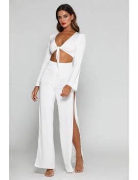sara-tie-knot-jumpsuit---white by meshki