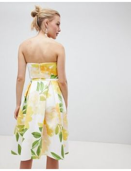 asos-design-floral-bandeau-crop-top-prom-midi-dress by asos-design