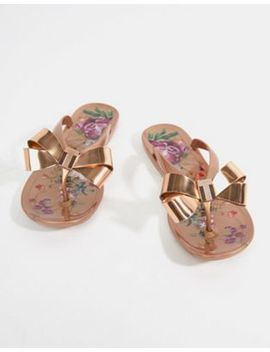 ted-baker-rose-gold-floral-bow-detail-flip-flop by ted-baker