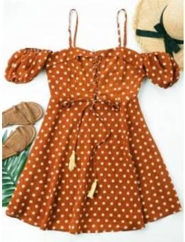 polka-dot-lace-up-dress---chestnut-red-m by zaful