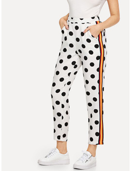 striped-side-polka-dot-pants by shein