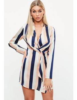 multicoloured-stripe-print-twist-front-shift-dress by missguided