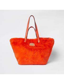 orange-faux-fur-oversized-shopper-bag by river-island
