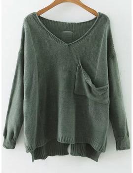 green-v-neck-drop-shoulder-dip-hem-sweater-with-pocket by romwe