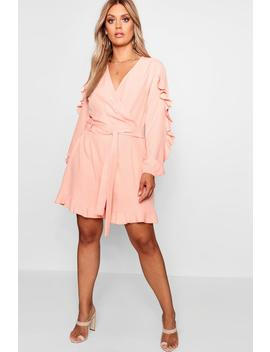 plus-wrap-ruffle-playsuit by boohoo