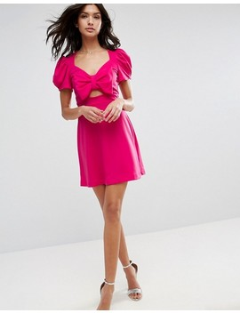 asos-mini-skater-dress-with-bow-detail-and-puff-sleeves by asos-collection
