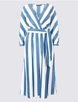 pure-cotton-striped-midi-dress by marks-&-spencer