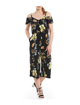 ruffle-cold-shoulder-culotte-jumpsuit by generic