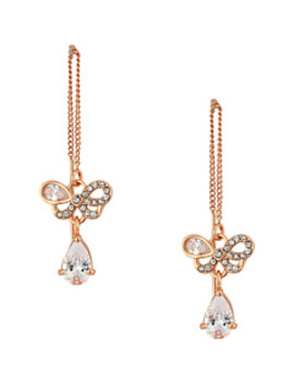 blue-by-betsey-johnson-rose-gold-bow-and-crystal-stone-threader-earrings by betsey-johnson