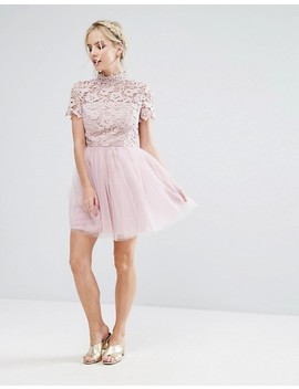 chi-chi-london-petite-lace-top-full-prom-mini-dress-with-tulle-skirt by chi-chi-london-petite