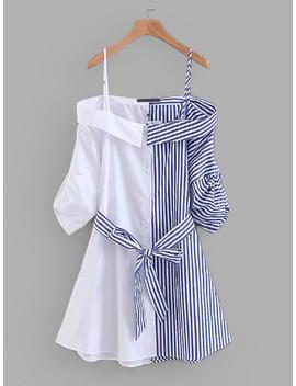 contrast-stripe-self-tie-dress by sheinside