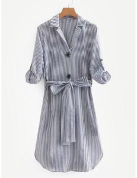 contrast-stripe-belted-shirt-dress by sheinside