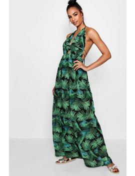 tall-plunge-front-palm-print-maxi-dress by boohoo