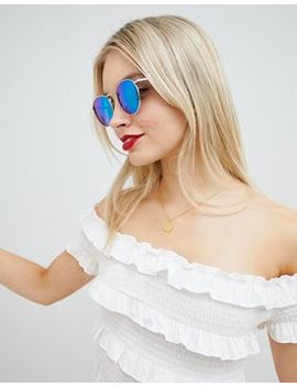 glamorous-blue-round-flash-lens-sunglasses by glamorous