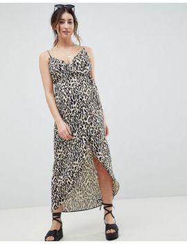 asos-design-maternity-cami-wrap-maxi-dress-in-leopard-print by asos-design