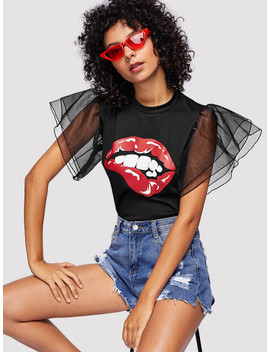graphic-print-mesh-panel-tee by sheinside