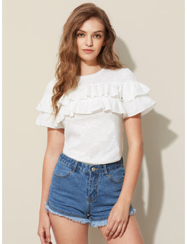layered-frill-detail-slub-tee by shein