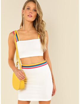 striped-tape-detail-crop-top-&-skirt-set by shein