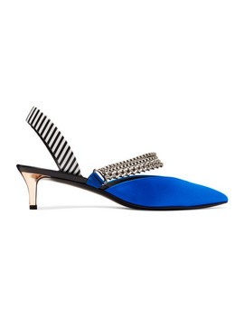 kitty-chain-embellished-satin-and-striped-leather-slingback-pumps by self-portrait